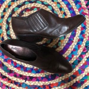 Reba Ankle Booties Saloon Dk Brown Sz 9 Leather